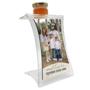 מתקן לדבש עם תמונה משפחתית והקדשה אישית